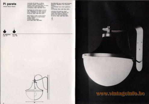 Artemide studioA Catalogue 1976 - Pi parete, design Sergio Mazza Wall lamp in matt nickel-plated brass. Reflector in dark brown coated metal. Frosted glass globe. Bulb type: Max 1 x 60 Watt.