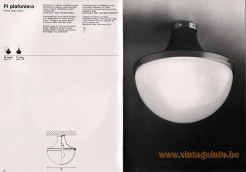Artemide studioA Catalogue 1976 - Pi plafoniera, design Sergio Mazza Ceiling lamp in matt nickel-plated brass. Reflector in dark brown coated metal. Frosted glass globe. Bulb type: Max 1 x 60 Watt.
