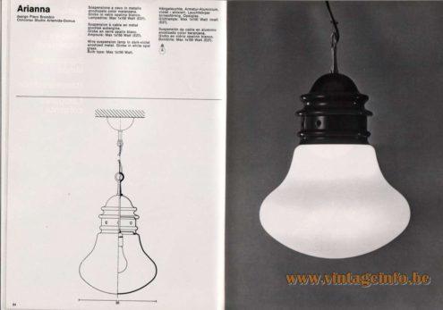 Artemide studioA Catalogue 1976 - Arianna, design Piero Brombin – Concorso Studio Artemide-Domus Wire suspension ramp in dark-violet anodized metal. Globe in white opal glass. Bulb type: Max 1 x 150 Watt.