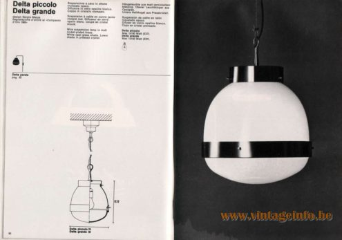 Artemide studioA Catalogue 1976 - Delta piccolo & Delta grande, design Sergio Mazza Segnalazione d'onore al Compasso d'Oro 1960 (Honourable mention at the Golden Compas of 1960)