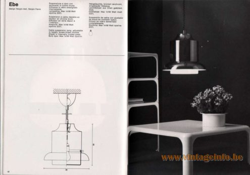 Artemide studioA Catalogue 1976 - Ebe, design Sergio Asti, Sergio Favre Cable suspension lamp, adjustable in height, brown-tinted chrome. Shade in internally frosted glass. Bulb type: Max 1 x 100 Watt opaline.