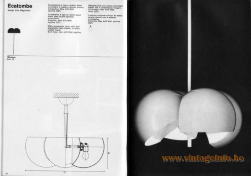 Artemide studioA Catalogue 1976 - Ecatombe, design Vico Magistretti Stem-suspension lamp, with four adjustable light-shades, In white coated metal. Bulb type: Max 4 X 75 Walt opaline.