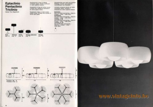 Artemide studioA Catalogue 1976 - Eptaclinio Pentaclinio Triclinio, design Vico Magistretti Suspension lamp in mall nickel-plated brass, Globes and shades in white opal glass.