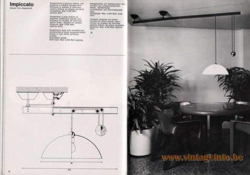Artemide studioA Catalogue 1976 - lmpiccato, design Vico Magistretti Suspension lamp with movable arm, constructed of black lacquered metal. Shade in opal white cellulose acetate. Adjustable height. Bulb type: Max 1 x 100 Watt opaline.