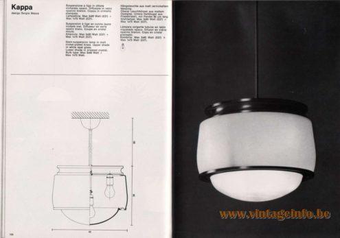 Artemide studioA Catalogue 1976 - Kappa, design Sergio Mazza Stem-suspension lamp in matt nickel-plated brass. Upper shade in white opal glass. Lower shade in pressed crystal. Bulb type: Max 3 x 60 Watt + Max 1 x 75 Watt.