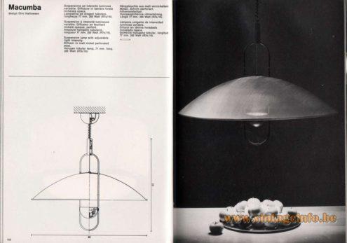 Artemide studioA Catalogue 1976 - Macumba, design Örni Halloween Suspension lamp with adjustable light intensity. Diffusor in matt nickel perforated steel. Halogen tubular lamp, 77 mm long. 250 Watt (R7s/15).