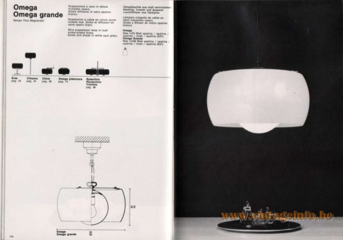 Artemide studioA Catalogue 1976 - Omega & Omega grande, design Vico Magistretti Wire suspension lamp in matt nickel-plated brass. Globe and shade in white opal glass.