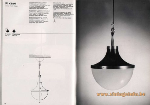 Artemide studioA Catalogue 1976 - Pi cavo, design Sergio Mazza Wire suspension lamp in matt nickel-plated brass, Reflector in dark brown coated metal. Globe in glass frosted internally. Bulb type: Max 1 X 60 Watt.