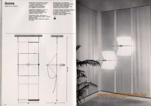 Artemide studioA Catalogue 1976 - Quinta, design Silvio Coppola Suspension lamp, adjustable in height, in textile and metal in white, textured finish. Bulb type: Max 1 x 100 Watt vegalux or philux.