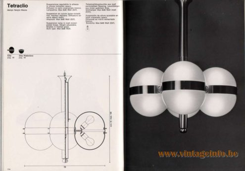 Artemide studioA Catalogue 1976 - Tetraclio, design Sergio Mazza Suspension lamp in matt nickel·plated brass. Height adjustable. Shades in frosted glass. Bulb type: Max 8 x 60 Watt.