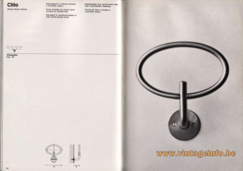 Artemide studioA Catalogue 1976 - Clito, design Sergio Mazza Hat-stand in chromium-plated or matt nickel-plated brass.