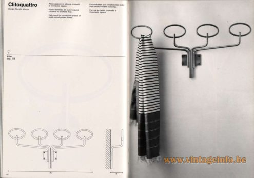 Artemide studioA Catalogue 1976 - Clitoquatro, design Sergio Mazza Hat-stand in chromium-plated or matt nickel-plated brass.