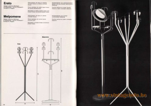 Artemide studioA Catalogue 1976 - Erato & Melpomene, design Lodovico Barbiano di Belgiojoso – Enrico Peressutti – Ernesto N. Rogers Erato – Hat-stand in brown-tinted chromium-plated brass. Melpomene – Hat-stand in white coated metal and brown-tinted chromium-plated brass.