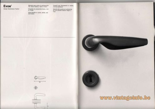 Artemide studioA Catalogue 1976 - Evoe', design Gianfranco Fratuni Door-handle in nylon, white, red and black.