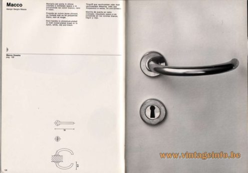 Artemide studioA Catalogue 1976 - Macco, design Sergio Mazza Door·handle in chromium-plated or matt nickel·plated brass or in nylon, white, red and black.