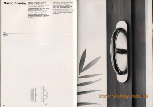 "Artemide studioA Catalogue 1976 - Macco finestra, design Sergio Mazza Window handle in chromium or malt nickel-plated brass. Two types of closure mechanism: ""graz or martellina""."