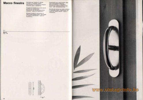 "Artemide studioA Catalogue 1976 - Macco finestra, design Sergio Mazza Window handle in chromium or malt nickel-plated brass. Two types of closure mechanism: ""graz or martellina""."