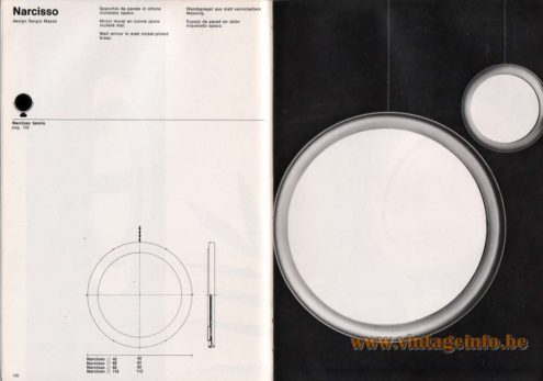 Artemide studioA Catalogue 1976 - Narcisso, design Sergio Mazza Wall mirror in matt nickel-plated brass.