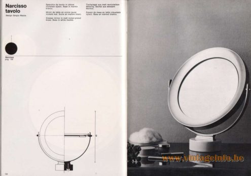 Artemide studioA Catalogue 1976 - Narcisso tavolo, design Sergio Mazza Dresser mirror in matt nickel-plated brass. Base in white marble.