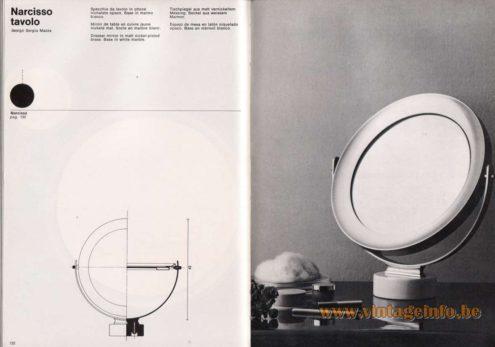 Artemide studioA Catalogue 1976 - Narcisso tavolo, design Sergio Mazza Dresser mirror in matt nickel-plated brass. Base in white marble.