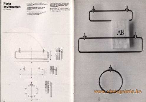 Artemide studioA Catalogue 1976 - Porta asciugamani – XIII Triennale Towel holder in chromium-plated or matt nickel-plated brass including wall fixtures.