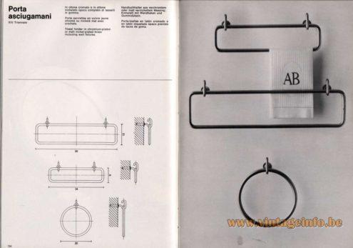 Artemide studioA Catalogue 1976 - Porta asciugamani – XIII Triennale Towel holder in chromium-plated or matt nickel-plated brass including wall fixtures.
