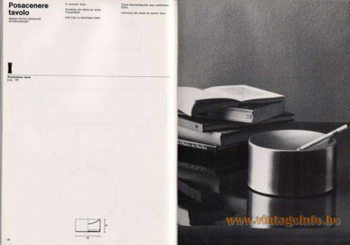 Artemide studioA Catalogue 1976 - Posacenere tavolo, design Emma Gismondi Schweinberger Ash·tray in stainless steel.