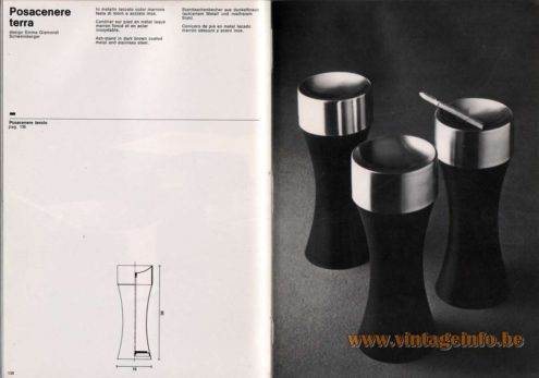Artemide studioA Catalogue 1976 - Posacenere terra, design Emma Gismondi Schweinberger Ash-stand in dark brown coated metal and stainless steel.