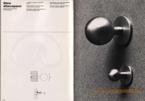 Artemide studioA Catalogue 1976 - Sfere attaccapanni, design Emma Gismondi Schweinberger Hat-stand in matt nickel-plated or chromium-plated brass.