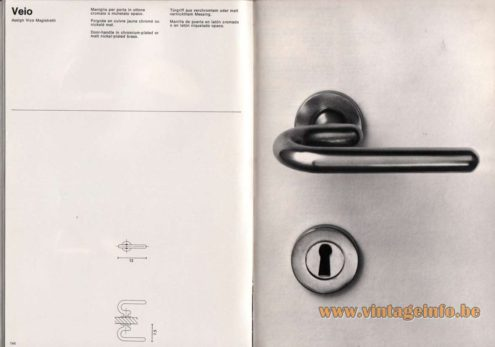 Artemide studioA Catalogue 1976 - Veio, design Vico Magistretti. Door-handle in chromium-plated or matt nickel-plated brass.