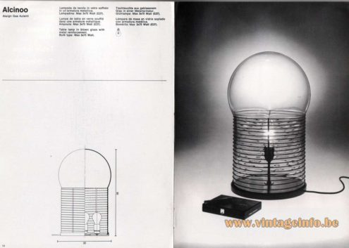 Artemide studioA Catalogue 1976 - Alcinoo, design Gae Aulenti. Table lamp in blown glass with metal reinforcement. Bulb type: Max 3×75 Watt.