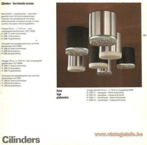 Raak 'Cilinders' Flush Mount P-258, P-259, P-293, P-296