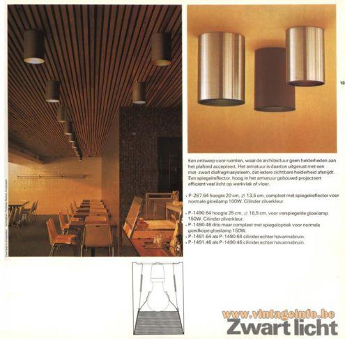 Raak 'Zwart Licht' Flush Mount P-267, P-1490, P-1491