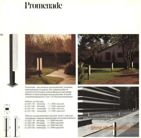 Raak Outdoor Lighting 'Promenade' - S-2311, S-2321