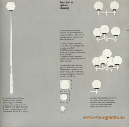 Raak Outdoor Lighting 'Lichtmasten' (light masts) - S-2355, S-2356, S-2357, S-2359 and W-1860