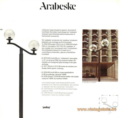 Raak Outdoor Lighting 'Paalkop' - 'Arabeske' - S-2210, S-2352, S-2211, S-2224, S-2225 (Pole-Head - Arabesque)