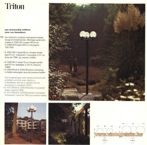 Raak Outdoor Lighting 'Paalkop' - 'Triton' - (Pole-Head - Triton) S-2201, S-2202, S2203