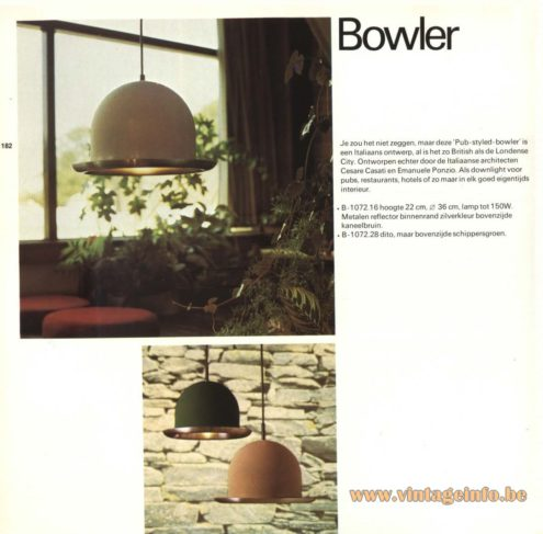 Raak Pendant Light 'Bowler' B-1072.16, B-1072.28 , designed by Cesare Casati and Emanuele Ponzio