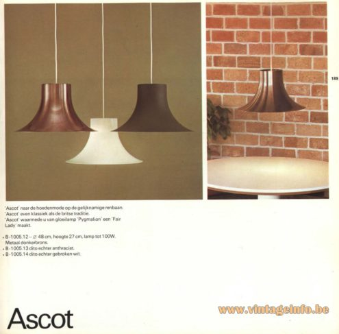 Raak Pendant Light 'Ascot' - B-1005.12, B-1005.13, B-1005.14