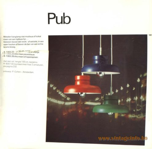 Raak Pendant Light 'Pub' B-1063 , designed by Piet Cohen, Amsterdam