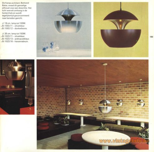 Raak Pendant Light 'Springfontein' B-1003.11, B-1003.12, B-1023.11, B-1023.12, B-1023.16, designed by the French Architect Bertrand Balas