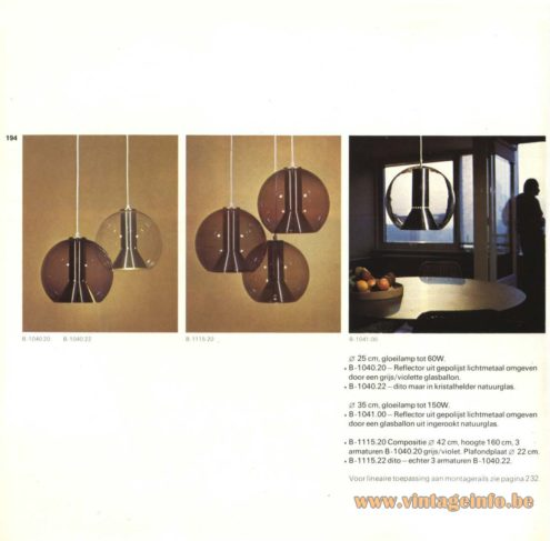 Raak Pendant Light 'Globe' or 'Globe 2000' B-1040.20, B-1040.22, B-1115.20, B-1115.22, B-1041.00, designed by Frank Ligtelijn.