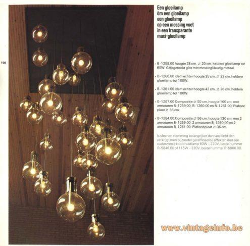Raak Chandelier - Pendant Lights 'Maxi Gloeilamp' (maxi light bulb) B-1259; B-1260, B-1261, B-1287, B-1284
