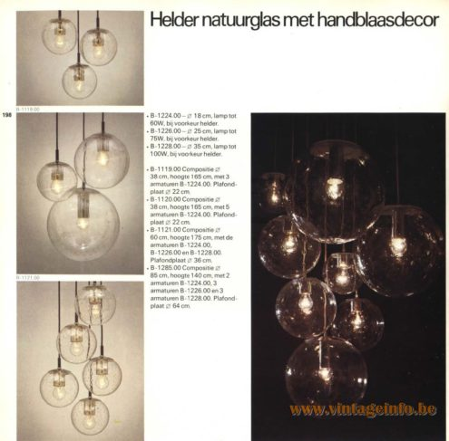 Raak Chandelier - Pendant Lights B-1224.00, B-1226.00, B-1228.00, B-1119.00, B-1120.00, B-1121.00, B-1226.00, B-1285.00 - Helder Natuurglas Met Handblaasdecor (Clear Nature Glass With Hand Blow Decor)