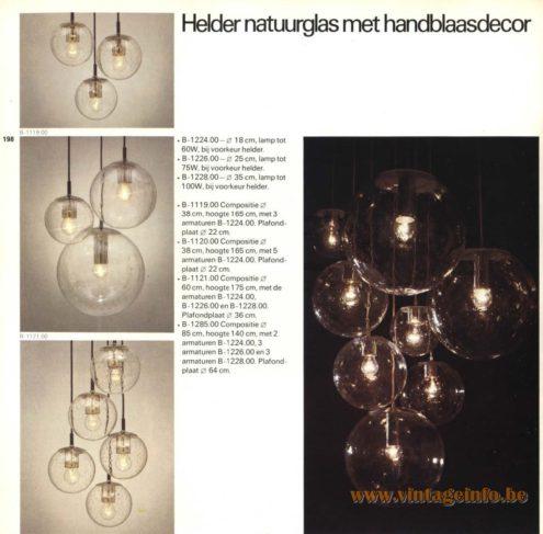 Raak Chandelier - Pendant Lights B-1224.00, B-1226.00, B-1228.00, B-1119.00, B-1120.00, B-1121.00, B-1226.00, B-1285.00 - Helder Natuurglas Met Handblaasdecor (Clear Nature Glass With Hand Blow Decor)