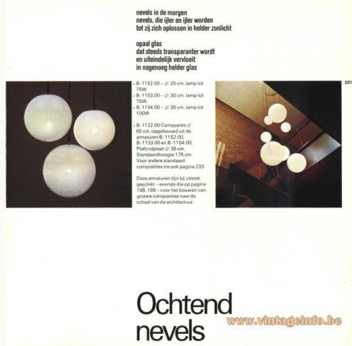 Raak Chandelier - Pendant Lights 'Ochtendnevel' (morning haze) B-1152, B-1153, B-1154, B-1122