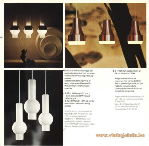 Raak Chandelier - Pendant Lights B-1241, B-1242, B-1004