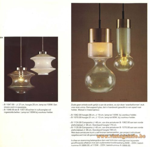 Raak Chandelier - Pendant Lights B-1047, B-1048 & 'Weerballonnen' (weather balloons) B-1062, B-1070, B-1124, B-1125