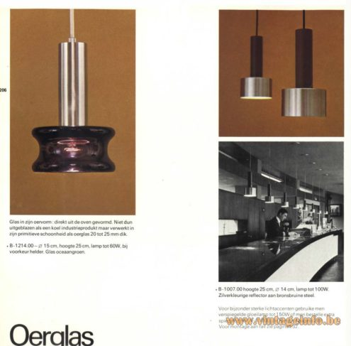 Raak Chandelier - Pendant Lights 'Oerglas' B-1214, B-1007 - (primeval glass)