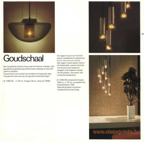 Raak Chandelier - Pendant Lights 'Goudschaal' (gold bowl) B-1065 & B-1300